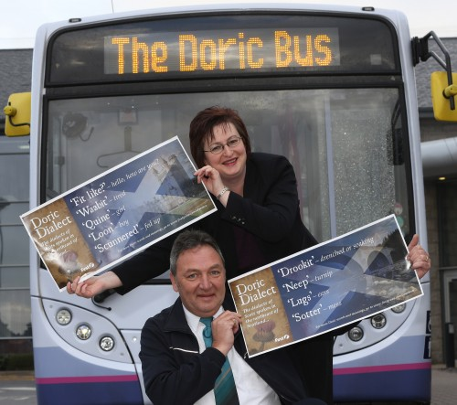Paula launching the Doric Bus at First Aberdeen